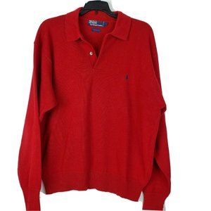 POLO BY RALPH LAUREN MENS PULLOVER RED SWEATER L